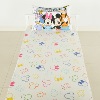 Mickey and Friends Printed Single Fitted Sheet - 90x200 cms