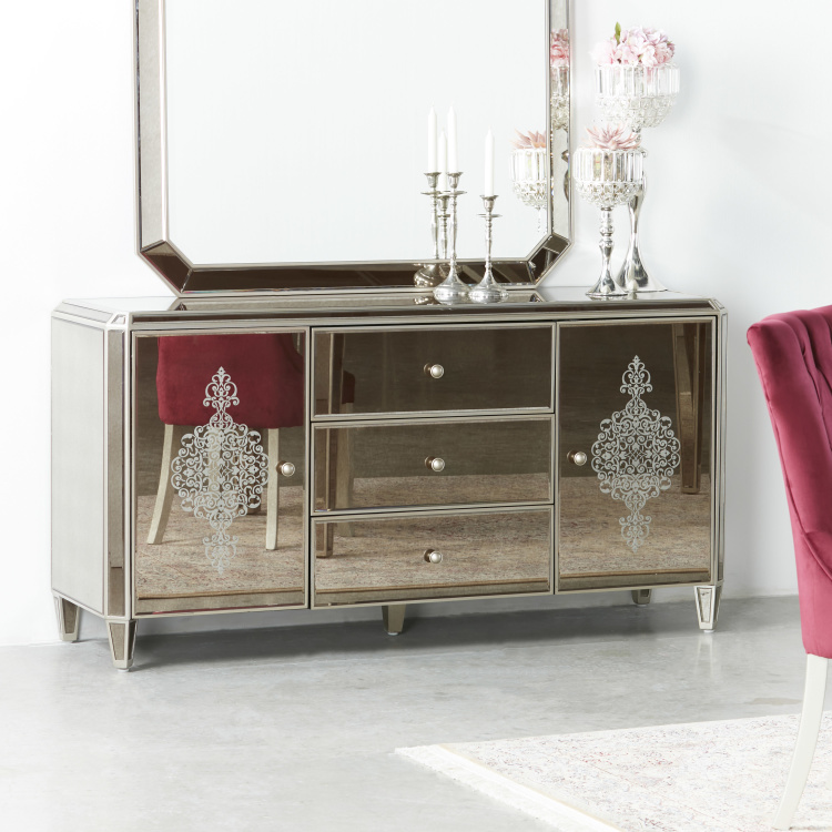 Jewel Mirrored 3-Drawer Buffet