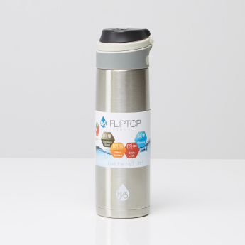 Aqua Metallic Drinking Bottle with Flip Top Lid - 600 ml