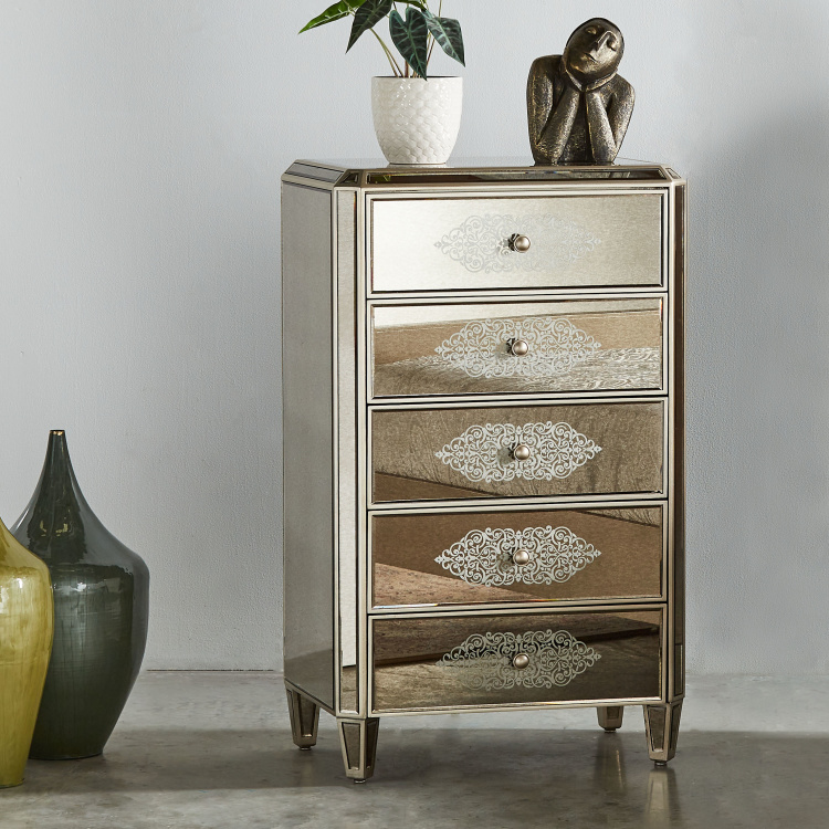 Jewel Mirrored Chest of 5-Drawers