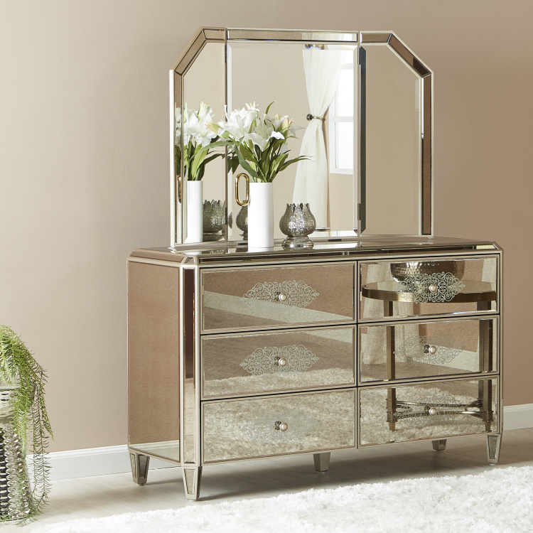 Jewel Mirrored 6 Drawer Dresser