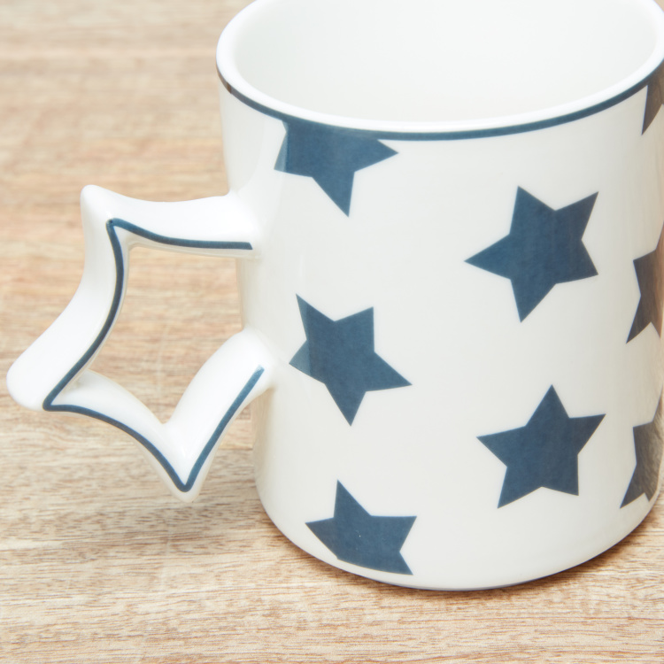 Delta Printed Mug with Star Shaped Handle - 310 ml