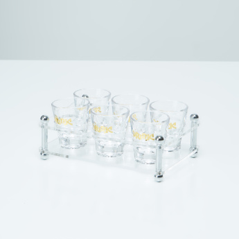 Firebank Printed 6-Piece Glass Set with Holder