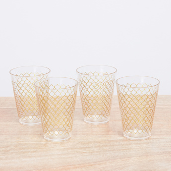 Applique Printed 4-Piece Tumbler Set - 450 ml