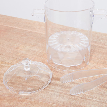 Sheffield Clear Ice Bucket with Tongs and Lid