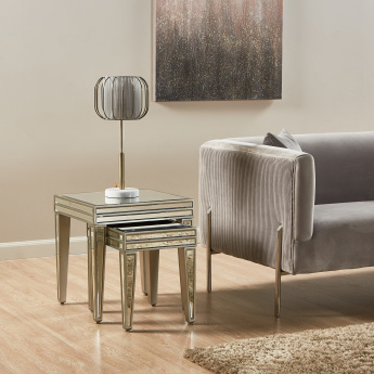 Domino Mirrored Nesting Side Table - Set of 2