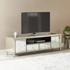 Domino 2-Door 2-Drawer Mirrored TV Unit for TVs up to 65 inches
