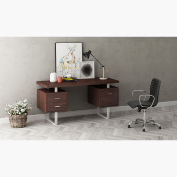 Ryan 3-Drawer Desk with Metallic Legs