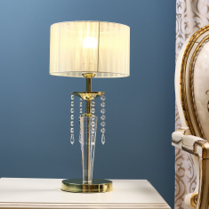 Medalion Metal Table Lamp with Crystal Detail