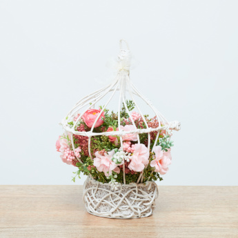 Ruth Mixed Flower Arrangement in Rattan Holder