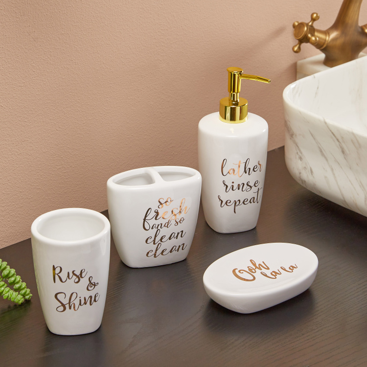 Oh-So-Clean Printed Bathroom Accseesory - Set of 4