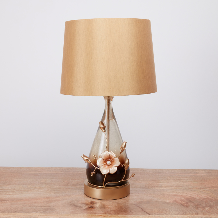 Redlands Clear Electric Table Lamp with Flower Applique Detail