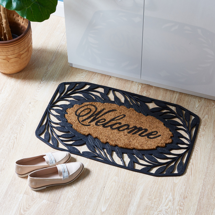 Welcome Printed Doormat with Leaf Cutout Detail