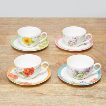 When Flowers Bloom 8-Piece Tea Cup and Saucer Set