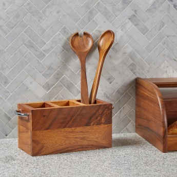 Mountain View Wooden Cutlery Holder with Metal Handles