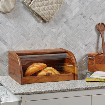 Mountain View Wooden Bread Box with Sliding Lid