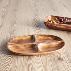 Acacia Wooden 4-Section Divided Oval Tray