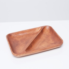 Acacia Wooden 2-Section Divided Rectangular Tray