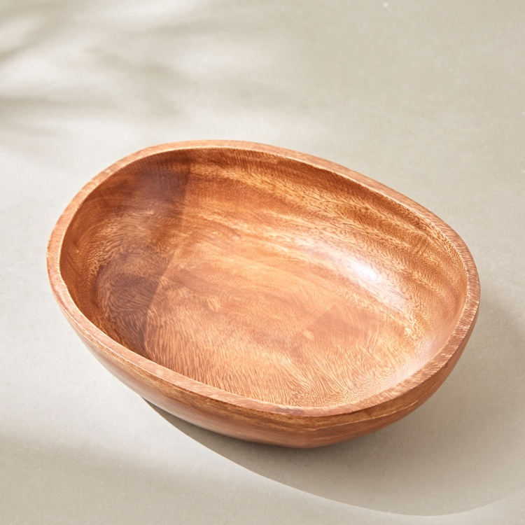 Acacia Wooden Oval Bowl - 25x21x6 cms