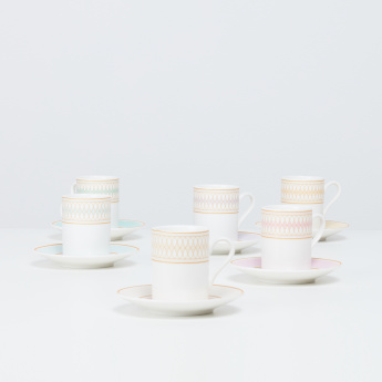Indus Espresso Printed 12-Piece Cup and Saucer Set