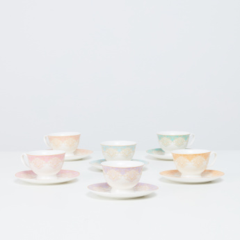 Persia 12-Piece Printed Espresso Cup and Saucer Set