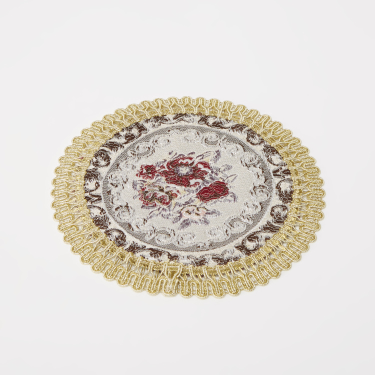 Majolika Circular Placemat with Embroidery Detail