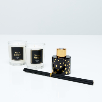 Night Mercin 4-Piece Glass Candle and Reed Diffuser Gift Set