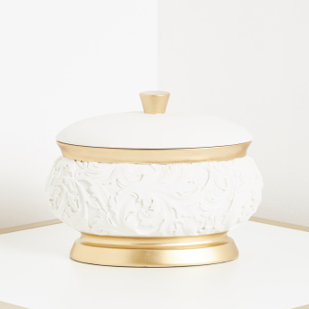 Royal Leaf Embossed Decor Bowl with Lid