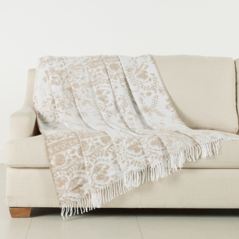 Misbah Printed Blanket with Tasseled Hem - 180x240 cms