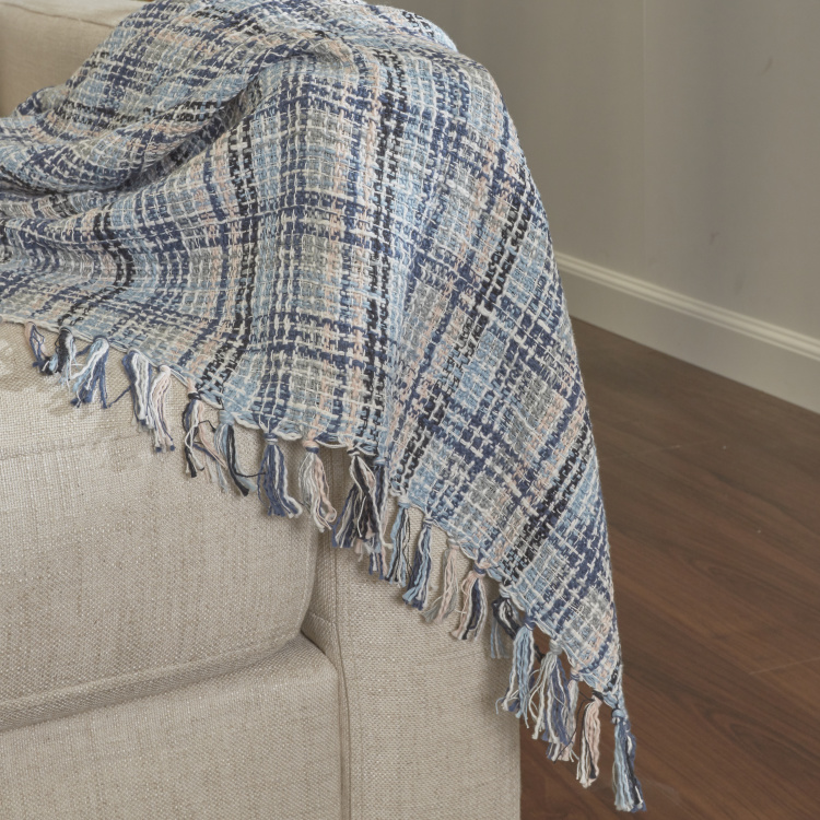 Organic Tweed Textured Checked Throw - 130x170 cms