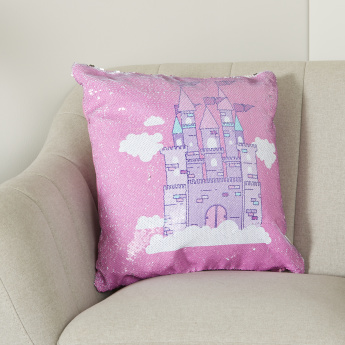 Princess Castle Sequinned Square Shaped Cushion - 45x45 cms