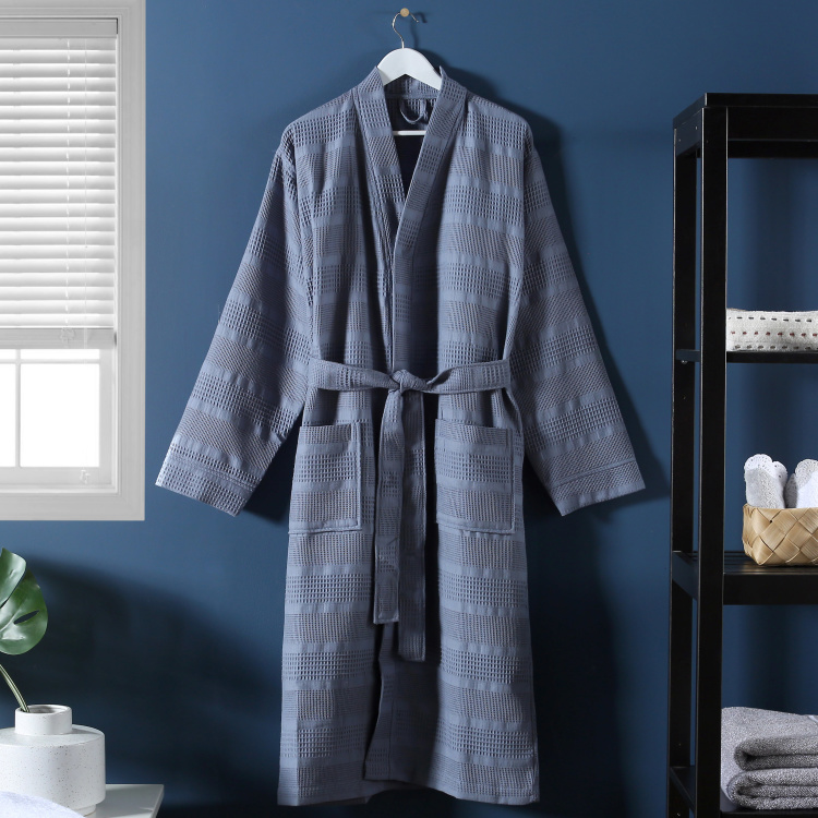 Patterned Infinity Bathrobe with Long Sleeves - Large