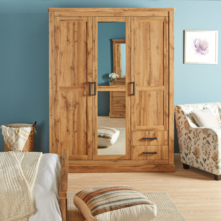 Colton 3-Door Wardrobe with Mirror and 2-Drawers