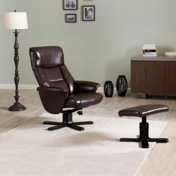 Garry 1-Seater Recliner with Faux Leather Foot Rest