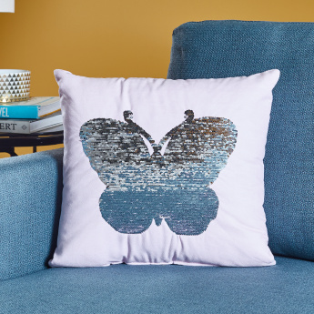 Butterfly Sequinned Filled Cushion - 45x45 cms