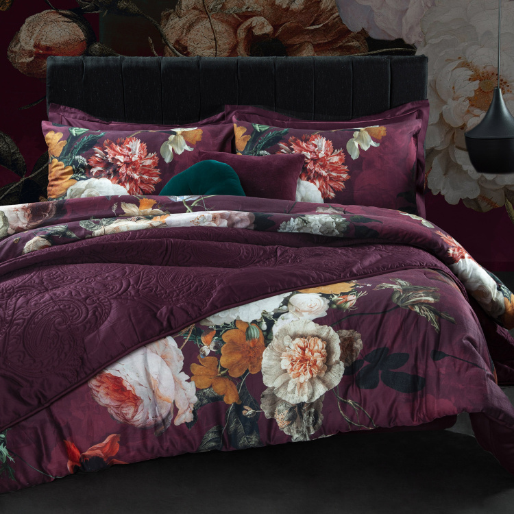 La Maison Floral Printed Super King 3-Piece Comforter Set