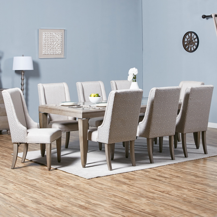 Polygon 8 Seater Glass Top Dining Table With Chairs Grey Oak Wood