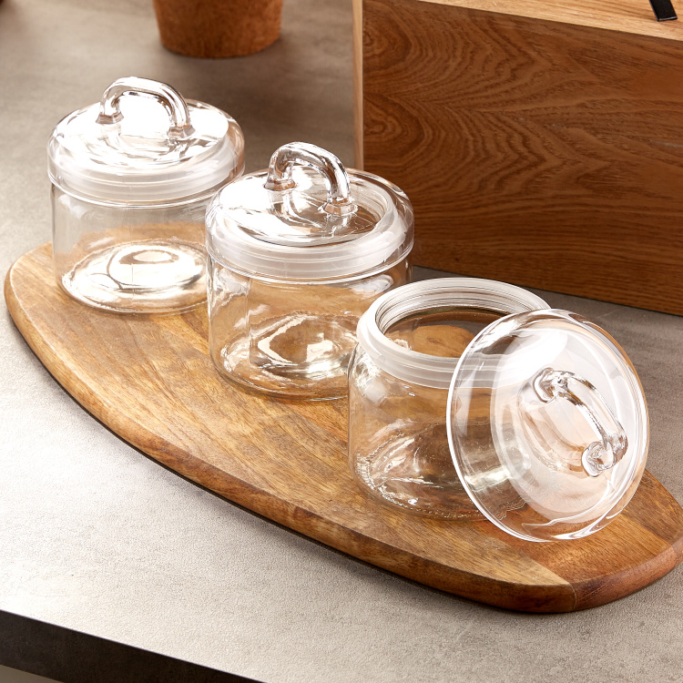 Newburg 3 Piece Glass Storage Jar Set 750 Ml White Glass