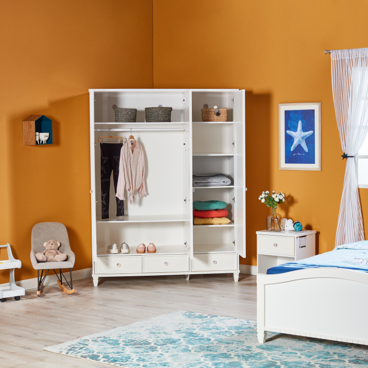 Livie 3 Door Wardrobe With Mirror And 3 Drawers White Blue Mdf