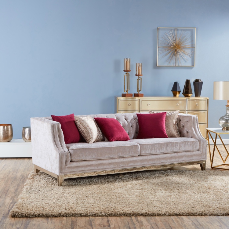 Jewel 3-Seater Textured Sofa with Scatter Cushions