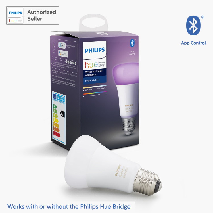 Philips Hue White and Colour Ambiance LED Smart Bulb - E27 806 lumen