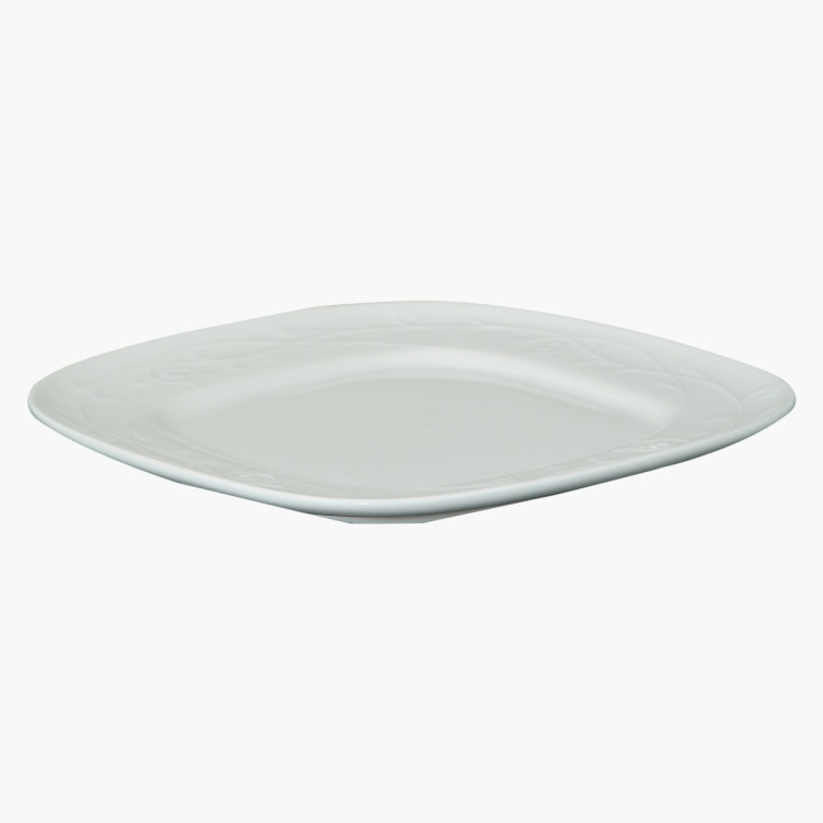 White Embossed Square Plate 19 cms