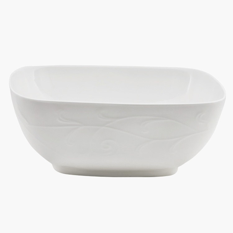 White Embossed Square Bowl 21.3 cms